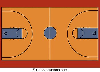 Basketball court floor with line