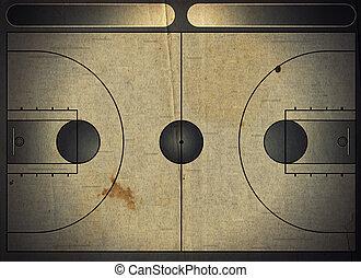 Basketball court - Grunge style illustration of a basketball...