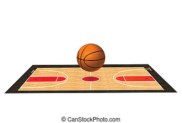 Basketball Court - Illustration of a basketball court with...