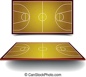 basketball court - detailed illustration of a basketball...