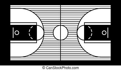 basketball court - Vector illustration of a hardwood...