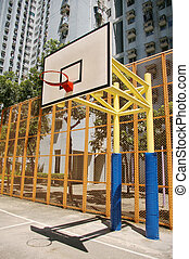 Basketball court in abstract view