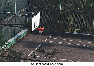 Basketball court in city. Outdoor playground
