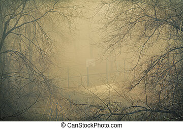 basketball court in the fog