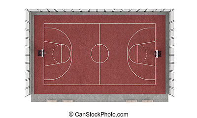 Basketball court isolated on white background