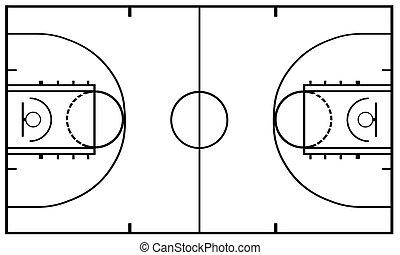 Basketball Court Isolated - Basketball Court isolated on...