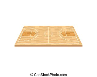 Basketball court on a wooden floor. View from above. Vector illustration on white background.