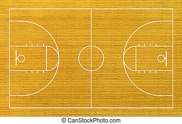 basketball court on wood background.