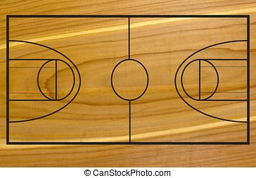 Basketball court on wood