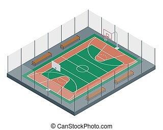 Basketball court. Sport arena. 3d render background. unfocus in long shot distance.