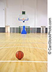 Basketball court, sports hall - Basketball court with ball ...