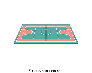 Basketball court. View from above. Vector illustration on white background.