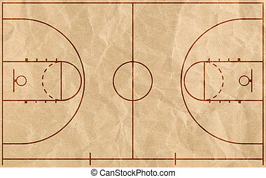 Basketball court with lines on grunge paper