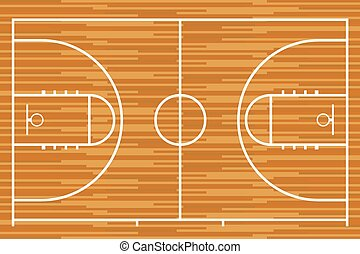 Basketball court with parquet wood board. Vector