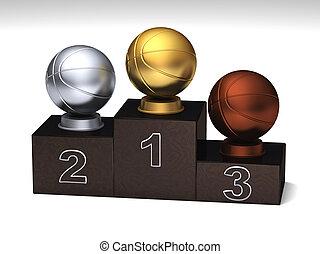 Basketball dark wood podium