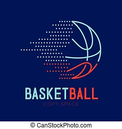 Basketball dash logo icon outline stroke set dash line design illustration isolated on dark blue background with basketball text and copy space