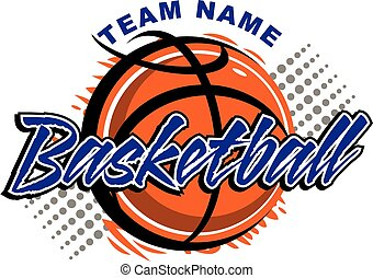 basketball team design with graphic basketball