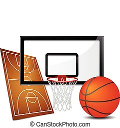 Basketball design elements - field, ball and hoop. Vector ...