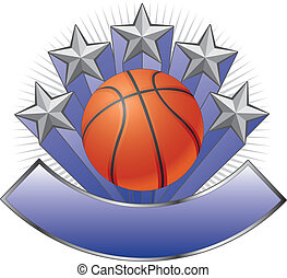 Illustration of a basketball design including basketball, stars and a large banner for your text. Great for t-shirts.