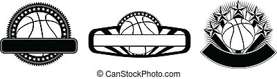 Illustration of three basketball design templates including basketball, stars, sunburst and banners for your text. Great for t-shirts.