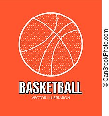 Basketball design  over orange background vector illustration