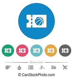 Basketball discount coupon flat round icons