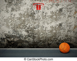 basketball circle and orange ball