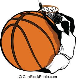 Basketball Dunk Design - Color vector illustration of a...