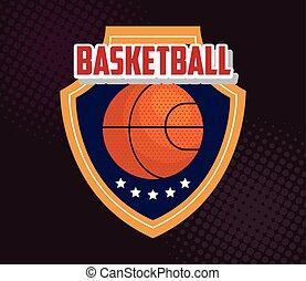 basketball , emblem, design with basketball ball, ball and shield with stars