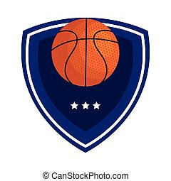 basketball, emblem, design with basketball ball, with shield and stars