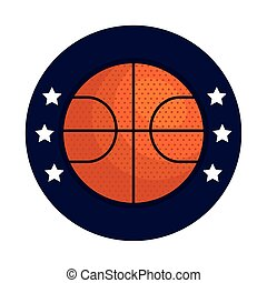 basketball, emblem, design with basketball ball, with stars in frame circular