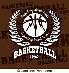 Basketball emblem for T-shirts, Posters, Banners, Prints