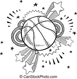 Doodle style basketball illustration in vector format with retro 1970s pop background