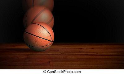 basketball falling on wood floor