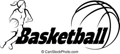 Basketball Female Driving to Basket with Stylized ball with word Basketball