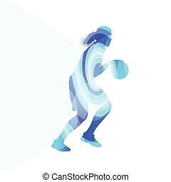 Basketball female woman player silhouette illustration background colorful concept