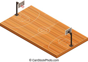 Basketball field icon, isometric style