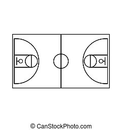 Basketball field icon, outline style