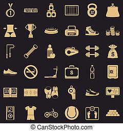 Basketball field icons set, simple style