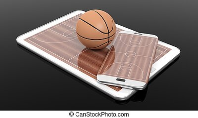 Basketball field with ball on smartphone edge and tablet display, isolated on black.