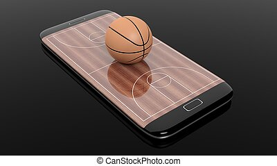 Basketball field with ball on smartphone edge display, isolated on black.