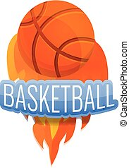 Basketball fire ball logo, cartoon style