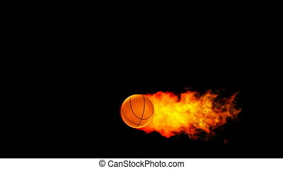 Basketball fireball in flames