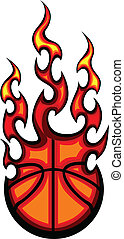 Basketball Flaming Ball Vector Illu