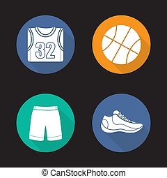 Basketball flat design long shadow icons set