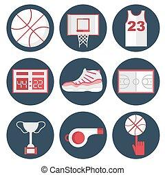 Basketball flat icons set