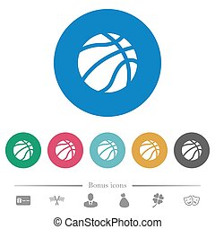 Basketball flat round icons