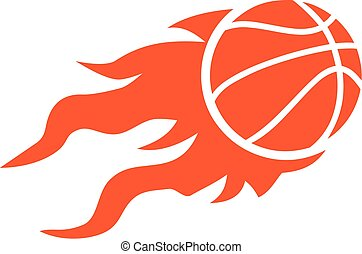 Basketball flying on fire