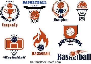 Basketball game emblems and banners - Basketball game...