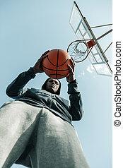Low angle of an orange basketball ball